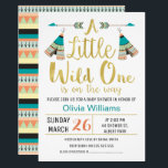 "Tribal Little One Faux Gold Baby Shower Invitation<br><div class=""desc"">This tribal wild one baby shower invitation is suitable as a gender neutral baby shower invitation. The design features two teepee, two arrows, some faux gold calligraphy text and a simple broken line divider. The back of the invitation features a rustic tribal pattern. I wanted to create some tribal baby...</div>"