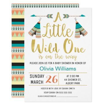figtreedesign Tribal Little One Faux Gold Baby Shower Invitation