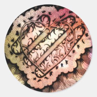 Tribal Love heart Classic Round Sticker