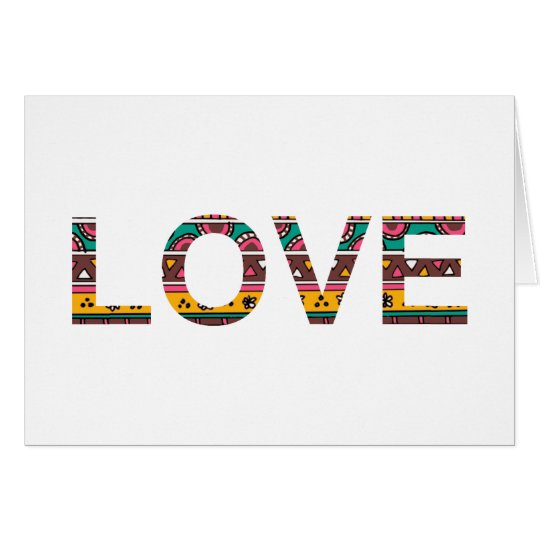 Tribal Love Word Art Card