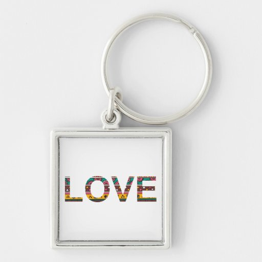 Tribal Love Word Art Silver-Colored Square Keychain