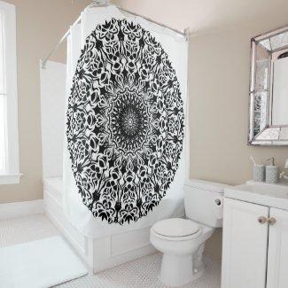 Tribal Mandala Black Shower Curtain