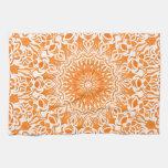 Tribal Mandala Orange Hand Towels