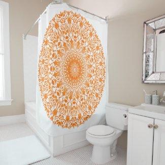 Tribal Mandala Orange Shower Curtain