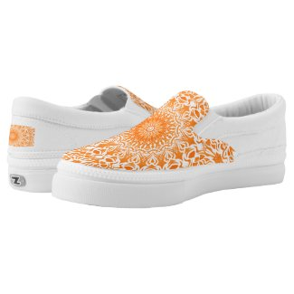 Tribal Mandala Orange Slip-On Sneakers