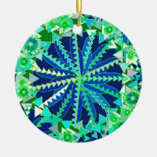 Tribal Mandala Print, Cobalt Blue and Green Ceramic Ornament