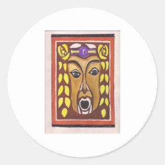 Tribal Mask Classic Round Sticker