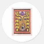 Tribal Mask Round Sticker