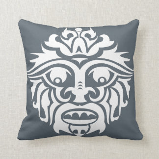 """Tribal Mask - Smokey Blue Throw Pillow 16"""" x 16"""""""