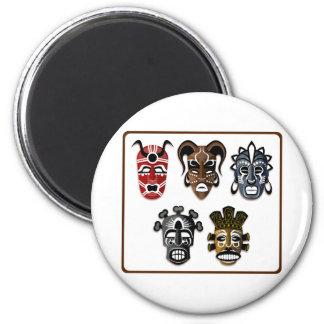 Tribal Masks 2 Inch Round Magnet