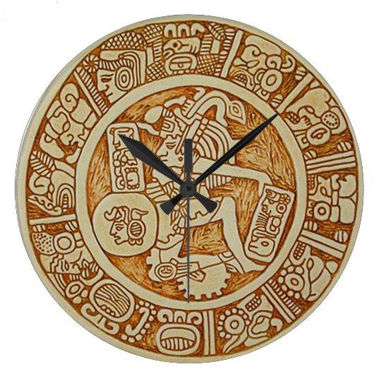 Tribal Maya Warrior Round Wall Clock Aztec Clock