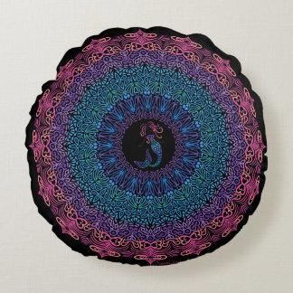 Tribal Mermaid Mandala on Black Round Pillow