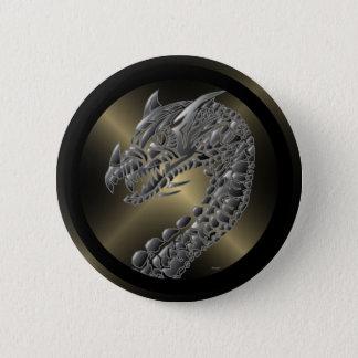 Tribal Metallic Dragon Pinback Button