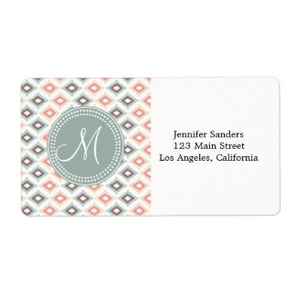 Tribal Mint and Pink Monogram Pattern Label
