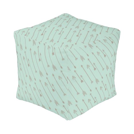 Tribal mint arrows pour, baby nursery bedroom pouf