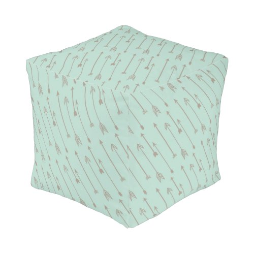 Tribal mint arrows pour, baby nursery bedroom pouf