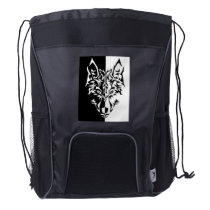 Tribal Modern Wolf Drawstring Backpack
