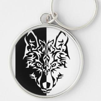 Tribal Modern Wolf Keychain