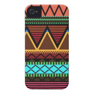 Tribal moderno de neón terroso carcasa para iPhone 4
