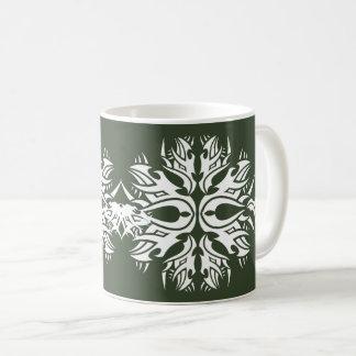 Tribal mug 6 white to over green