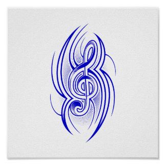 tribal music clef blue.png poster