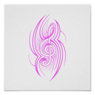 tribal music clef pink.png poster