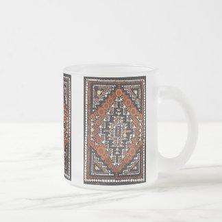 Tribal Native American Earth Tones Mosaic Frosted Glass Coffee Mug