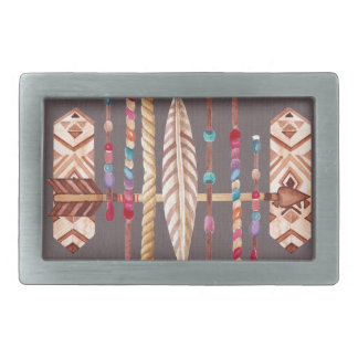 Tribal Native Beads Arrows Rope Pattern Collage Rectangular Belt Buckle