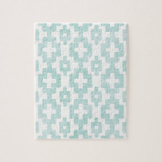 Tribal,native,vintage,grunge,pattern,mint,white, Puzzles