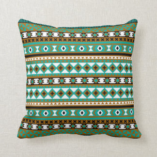 Tribal Navajo Blanket Pattern Green and Brown Throw Pillow