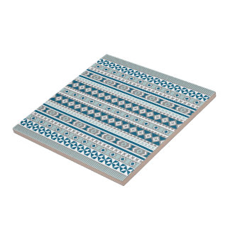Tribal Navajo Blanket Pattern Green Blue and Grey Tile