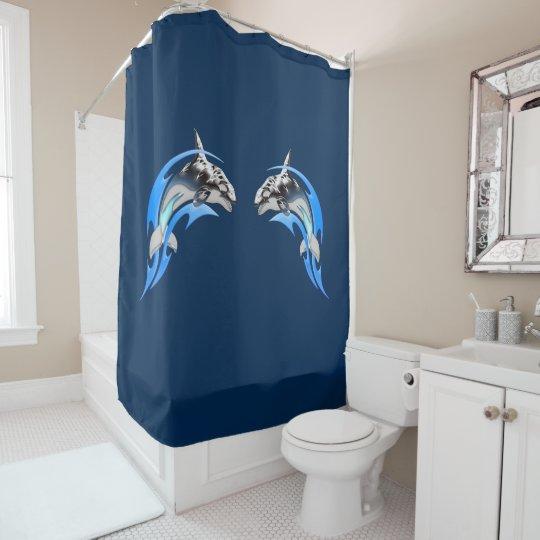 Tribal Orca Shower Curtain
