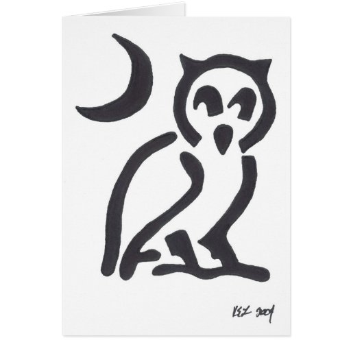 tribal owl, black greeting cards