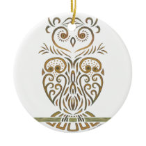 Tribal Owl Ceramic Ornament