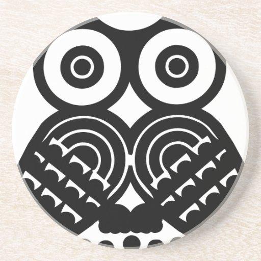 Tribal owl design beverage coaster