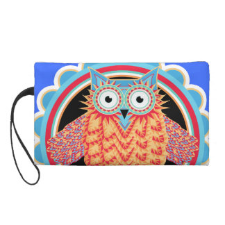 Tribal Owl Fun Brightly Colored Drawing Wristlet Purse