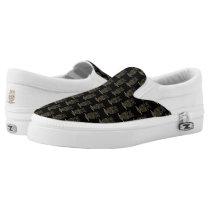 Tribal Owl Pattern on Black Slip-On Sneakers