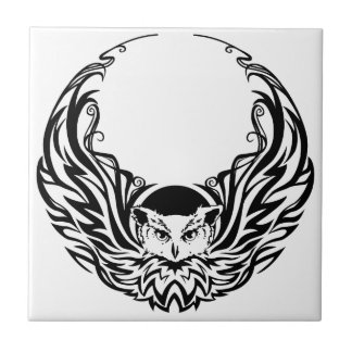 Tribal Owl Small Square Tile