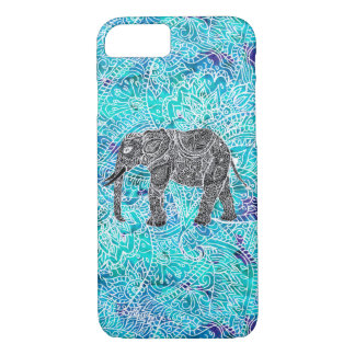 Tribal paisley boho elephant blue turquoise iPhone 7 case