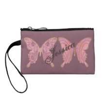TRIBAL PAISLEY BUTTERFLIES ROSE wrist bag