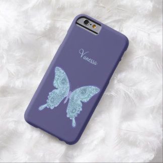 Tribal Paisley Butterfly blue iphone 6 Barely There iPhone 6 Case
