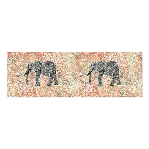 Tribal Paisley Elephant Colorful Henna Pattern Business Card Template