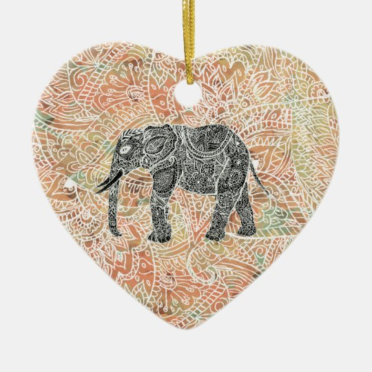 Tribal Paisley Elephant Colorful Henna Pattern Ceramic Ornament