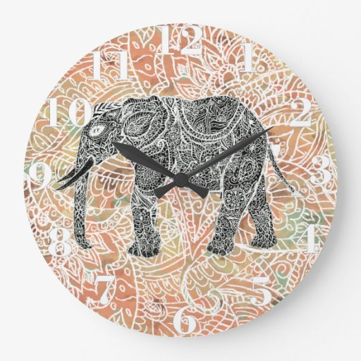 Tribal Paisley Elephant Colorful Henna Pattern Clock
