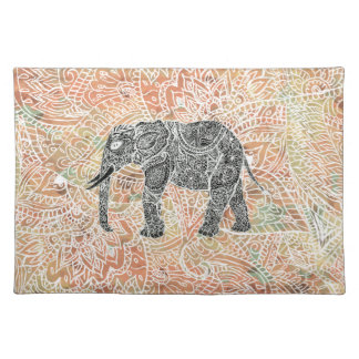 Tribal Paisley Elephant Colorful Henna Pattern Cloth Placemat