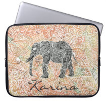 Tribal Paisley Elephant Colorful Henna Pattern Computer Sleeve