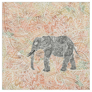 Tribal Paisley Elephant Colorful Henna Pattern Fabric
