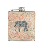 Tribal Paisley Elephant Colorful Henna Pattern Flask