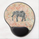 """Tribal Paisley Elephant Colorful Henna Pattern Gel Mouse Pad<br><div class=""""desc"""">A cool,  ethnic black and white sketch of a wild elephant with abstract floral paisley pern on a colorful tribal henna pattern with Boho Chic fashion colors,  in coral,  orange,  turquoise,  pink. Perfect gift for the wild animal lovers,  fan of Mehndi style with a tribal decor touch</div>"""