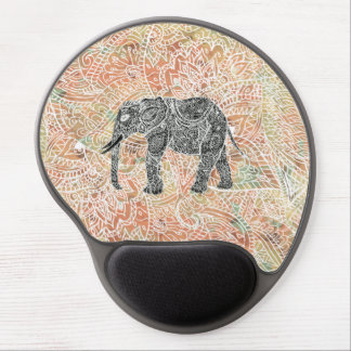 Tribal Paisley Elephant Colorful Henna Pattern Gel Mouse Pad